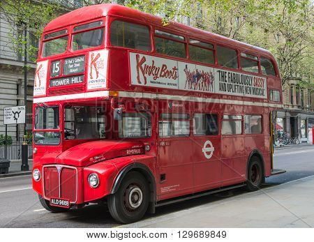 London - May,8, 2016. Traditional London Routemaster bus parked waiting to start its route from Trafalgar Square to Tower Hill.