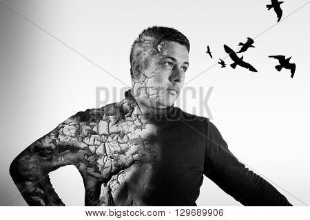 Double Exposure Male Portrait And Crows