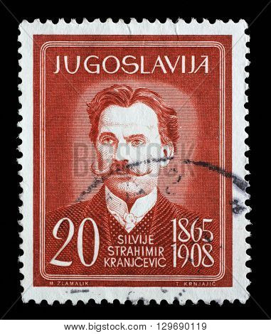 ZAGREB, CROATIA - JUNE 14: a stamp printed in Yugoslavia shows Silvije Strahimir Kranjcevic, Croatian poet, circa 1960, on June 14, 2014, Zagreb, Croatia