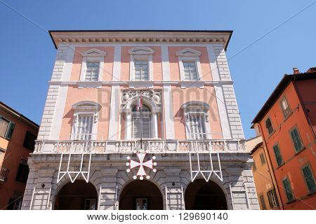 PISA, ITALY - JUNE 06, 2015: Ancient architecture of Garibaldi Square in Pisa, Italy, on June 06, 2015