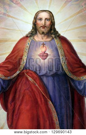 ZAGREB, CROATIA - SEPTEMBER 14: Sacred Heart of Jesus, altarpiece in Basilica of the Sacred Heart of Jesus in Zagreb, Croatia on September 14, 2015