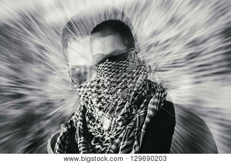 Man In Sunglasses And A Keffiyeh Double Exposure