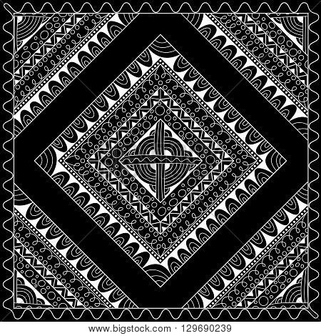 Black and white abstract bandana print with geometrical ornament. Kerchief square pattern design. Design for silk neck scarf kerchief hanky