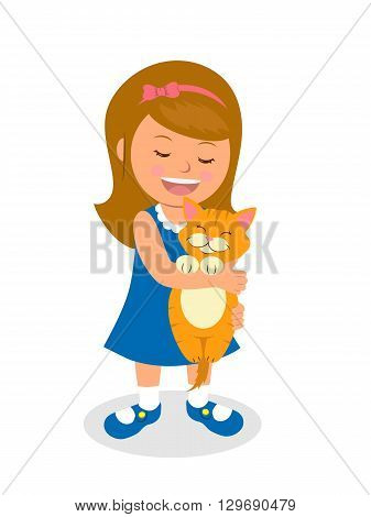 Girl is holding a kitten. Isolated vector illustration cartoon child holding a cat. Concept of care about pets.