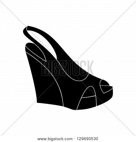 Shoes on platform. High platform shoes. Woman shoes. Vector illustration