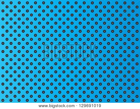 Concept conceptual blue abstract metal stainless steel aluminum perforated pattern texture mesh background as metaphor to industrial, abstract, technology, grid, silver, grate, spot, grille surfa
