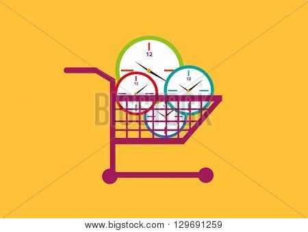 Time allocation or productivity concept. Clocks on a shopping cart. Editable Clip Art.