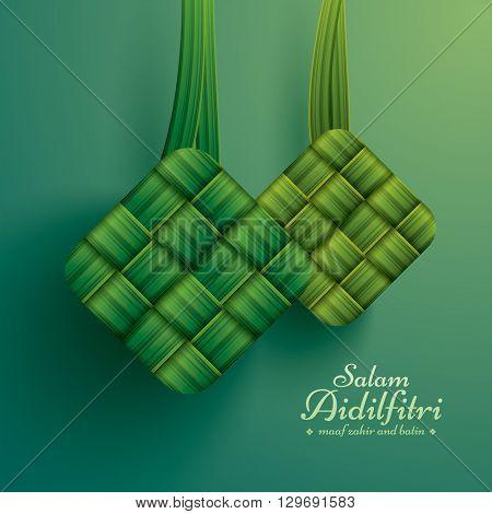 Ketupat (rice dumpling). Salam Aidilfitri means celebration day. Maaf zahir dan batin means please forgive (me) outwardly and internally.