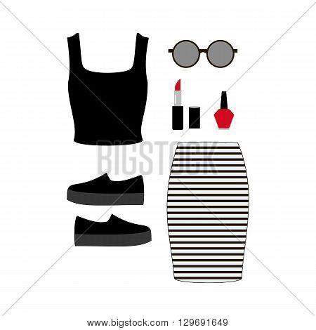 Fashion look illustration. Skirt top bag shoes. Vector illustration
