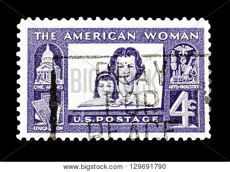 USA - CIRCA 1960 : Cancelled postage  stamp printed by USA, that shows Mother and daughter.