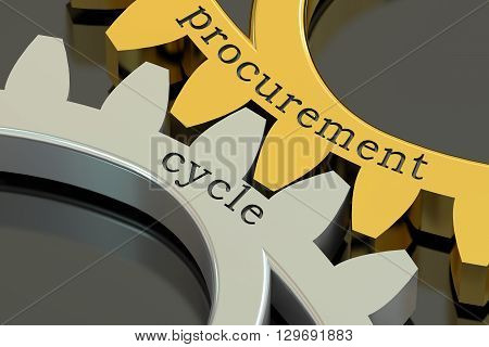 Procurement Cycle concept on the gearwheels 3D rendering