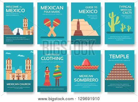 Country Mexico travel vacation guide of goods, places and features. Set of architecture, fashion, people, items, nature background concept.  Infographic template for web and mobile on flat style