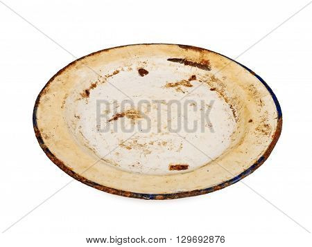 old metal rusty dish isolated on white background, studio shot