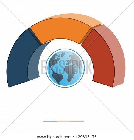 Template for infographics coloured parts semicircle and globe three positions options parts or processes. 3D illustration.
