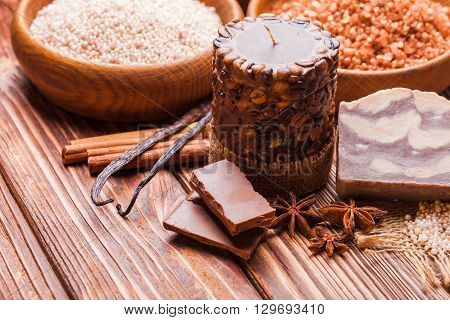 Chocolate and coffee  spa - sea salt, handmade soap and bath pearls