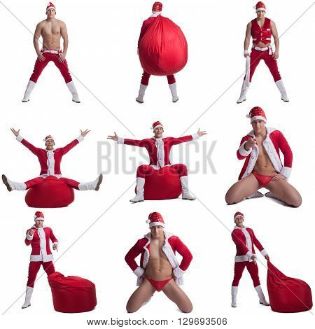 Collage of sexy guy dressed as Santa Claus. Isolated on white