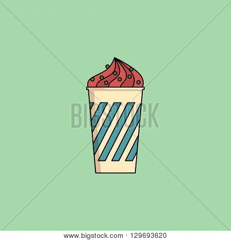 Cute cartoon berry icecream in cup with candy sprinkling. Sundae flat icon on green background. Minimal line style, modern color. Ice-cream web icon. Design element for your project. Vector illustration, eps 10