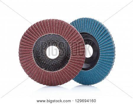 Abrasive wheels isolated on white background in studio