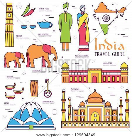 Country India travel vacation guide of goods, places and features. Set of architecture, fashion, people, items, nature background concept. Infographics template design for web and mobile on thin lines