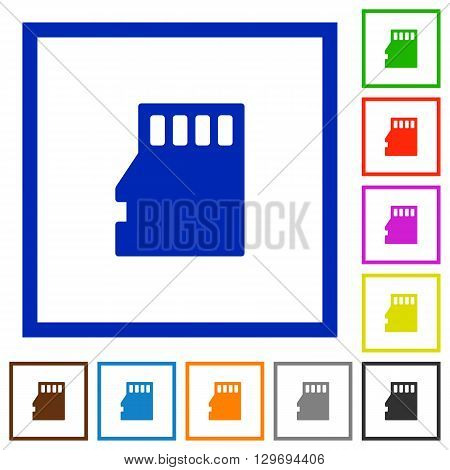 Set of color square framed Micro SD memory card flat icons on white background