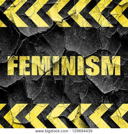 feminism, black and yellow rough hazard stripes