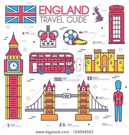 Country England travel vacation guide of goods, places in thin lines style design. Set of architecture, people, sport, icons background concept. Infographics template for web and mobile on vector flat