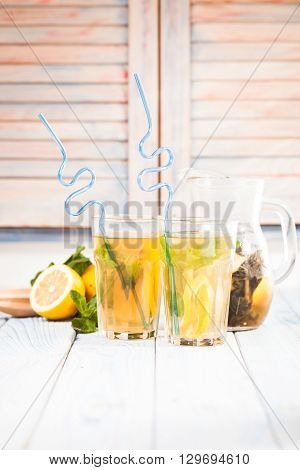 Lemonade on the table in the kitchen