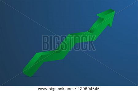 Green 3D arrow pointing up. 3D green arrow representing growth or profit on blue background ( backdrop ) with barely visible grid. Green arrow full of gradients pointing up with shadow can be used as infographics element.