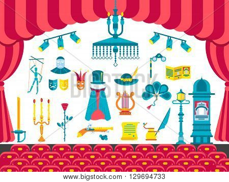 Collection of theater icons items design. Performance Interior with any elements set. Entertainment drama, tragedy or comedy illustrations vector background. Show image on flat style concept
