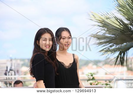 Kim Tae-Ri, Kim Min-Hee  attend 'The Handmaiden (Mademoiselle)' photocall during the 69th annual Cannes Film Festival at the Palais des Festivals on May 14, 2016 in Cannes, France.
