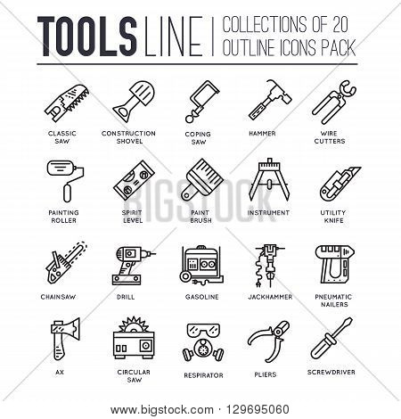 Collection of working tools icons items design. Construction instruments with any elements set. Diy, building, work outline illustrations vector background. Process image on thin line style concept