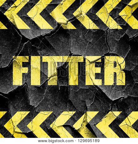 fitter, black and yellow rough hazard stripes