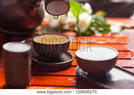Close-up table with  earthenware for Chinese tea ceremony
