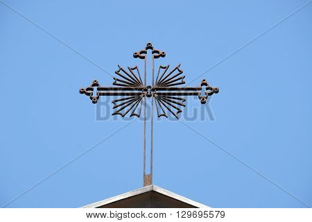 FLORENCE, ITALY - JUNE 05: Cross,Church of Saint John the Evangelist degli Scolopi in Florence, Italy, on June 05, 2015