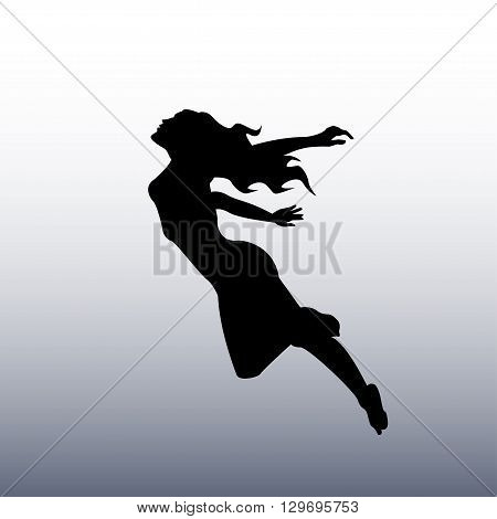 vector illustration black silhouette of a girl flying in the sky