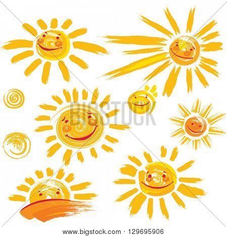 Set of hand drawn sun symbols with smile