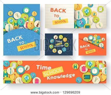 Back to school information pages set. Education template of flyear, magazines, posters, book cover, banner. Exam infographic concept background. Layout illustration template pages with typography