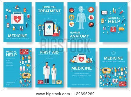 Medicine information cards set. Medical template of flyear, magazines, posters, book cover. Clinical infographic concept on blue background. Layout illustrations template pages with typography text