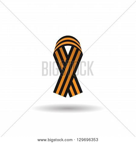St. George ribbon color web icon, thin line illustration for mobile app color picture on a white isolated background with shadow