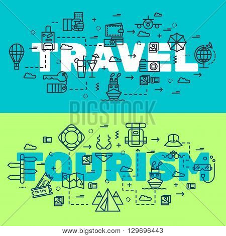 Travel infographic icons items design. Vacation rest with any elements set. Tour, trip, journey outline illustrations vector background. Tourist image on thin line style concept