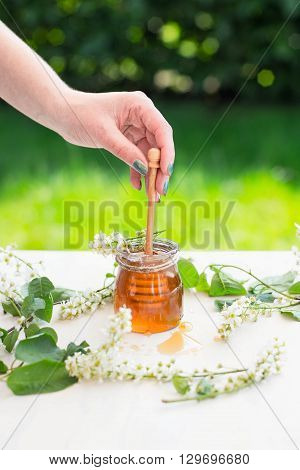 Honey dripping from a wooden honey dipper in a jar. Female hands holding wooden honey dipper.