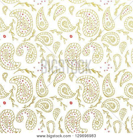 Gold glittering abstract Paisley pattern. Seamless Paisley texture with gold on white background