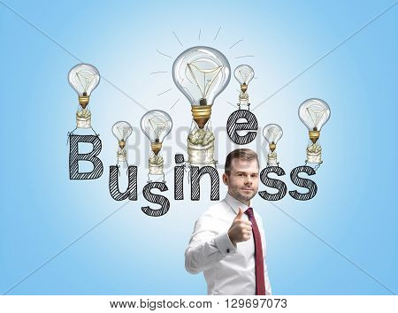 Business idea concept with businessman showing thumbs up and lightbulb air balloons with money sacks