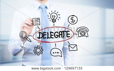 Businessman drawing abstract delegate sketch, close up