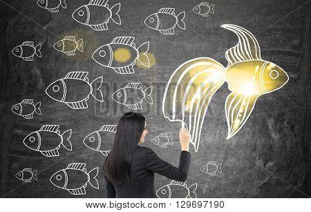 Woman Drawing Goldfish