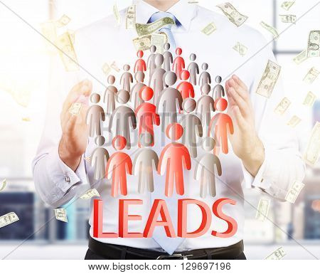 Lead Generation With Businessman And Staff Icons.