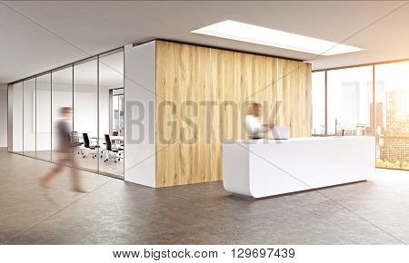 Blurry business man walking in office interior with sunlight. Woman on reception. New york window view.