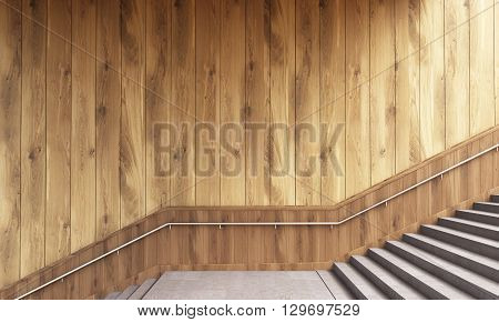 Wooden Wall And Stairs