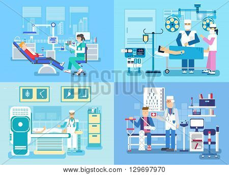 Medical examination doctor set concept. Medical visit to the doctor concept
