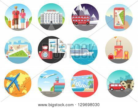 Set of travel vacation tour trip on the water, on land, in the air. Travel background. Travel icons. Travel illustrations. Fast travel design. Travel tour infographic. Flat travel. World travel
